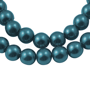 1Strand Round Glass Pearl Beads Strands, Dyed, Teal, 8mm, Hole: 1mm; about 106pcs/strand, 33 inches(X-JPS8MMY-126)