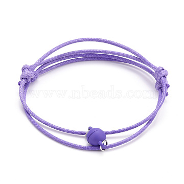 Adjustable Magnetic Bracelet for Couples, with Korean Waxed Polyester Cord and Alloy Magnectic Clasps, Lilac, Inner Diameter: 2~3-1/8 inch(6.35~7.95cm), 2pcs/set(BJEW-JB06190-03)
