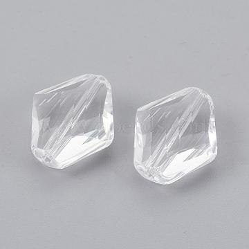 14mm Clear Rhombus Glass Beads