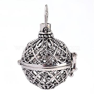 Rack Plating Brass Cage Pendants, For Chime Ball Pendant Necklaces Making, Hollow Round, Antique Silver, 32x29x25mm, Hole: 6x7mm; inner measure: 20mm(KK-S751-004AS)