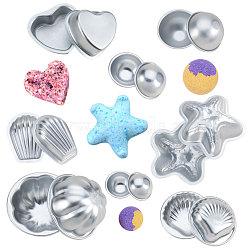 BENECREAT Aluminum Alloy Bath Bomb Molds, Ball & Starfish & Scallop & Shell & Heart & Flower, Platinum, 4.5~10mm(DIY-BC0007-01)