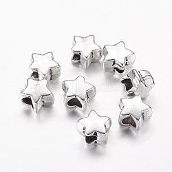 grandes perles de trou, de style tibétain perles étoiles européen, argent antique, sans plomb et sans cadmium, 11 mm de long, 10 mm de large, 7 mm d'épaisseur, trou: 4.5 mm(X-LF11380Y)