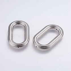 Cadres de perles en plastique ccb, ovale, platine, 49x29.5x6mm, Trou: 1mm(CCB-G006-022P)