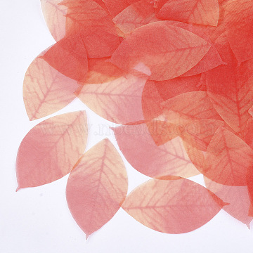 Organza Fabric, For DIY Jewelry Making Crafts, Leaf, Tomato, 52x29mm(X-FIND-S315-01)