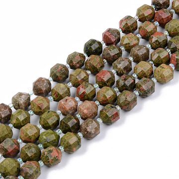 Natural Unakite Beads Strands, Round, Faceted, 8~9x10mm, Hole: 1.2mm; about 33~35pcs/strand, 15.16inches(38.5cm)(G-R482-15-10mm)