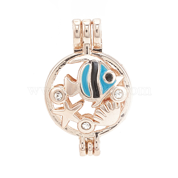 Alloy Locket Pendants, Diffuser Locket, with Rhinestone and Enamel, Hollow, Flat Round with Fish, Crystal, Rose Gold, 28x18x9.5mm, Hole: 3.5x2.5mm; Inner Measure: 16mm(PALLOY-S062-59RG)
