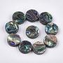Abalone Shell/Paua Shell Beads, Flat Round, Green, 12x3~4mm, Hole: 1.2mm
