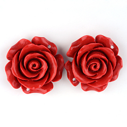 Rose Flower Cinnabar Links, FireBrick, 29x29x11.5mm, Hole: 1.5mm(X-CARL-Q004-72)