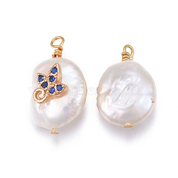 Natural Cultured Freshwater Pearl Pendants, with Brass Cubic Zirconia Findings, Nuggets with Leaf, Golden, Royal Blue, 17~26x11~16x5~11mm, Hole: 1.6~2mm(X-PEAR-E013-18A)