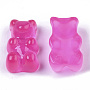 Translucent Resin Cabochons, Bear, DeepPink, 17.5x10.5x7.5mm
