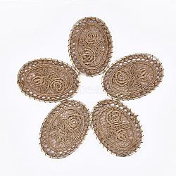 Поликоттон (полиэстер хлопок) большие тканые подвесные украшения, с железом выводы, овальные с цветком, светлое золото, верблюд, 55.5~56.5x39~40x1.5 mm(FIND-Q078-15D)