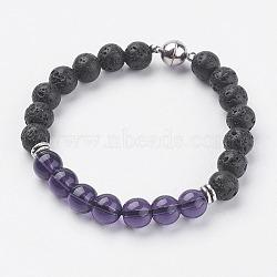 """Bracelets extensibles de perles en lave naturelle, avec améthyste naturelle, fermoir magnétique et accessoires en alliage, 7-5/8"""" (195 mm)(BJEW-I241-13H)"""