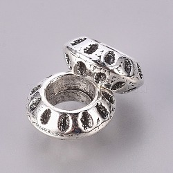Alliage perles rondes européennes, Perles avec un grand trou   , sans plomb et sans cadmium, argent antique, longueur d'environ 5 mm , 10 mm de diamètre, Trou: 5mm(X-EAA386Y)
