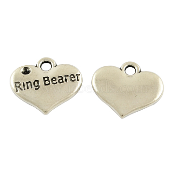 Tibetan Alloy Heart Carved Word Ring Bearer Wedding Charms Rhinestone Settings, Lead Free & Cadmium Free, Antique Silver, 14x16x2.5mm, Hole: 2mm; Fit for 1.5mm Rhinestone(X-TIBEP-GC222-AS-RS)