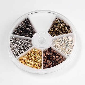 6 Color Iron Crimp Beads Covers, Nickel Free, 5mm In Diameter, Hole: 1.5~1.8mm, About 35pcs/compartment, 210pcs/box(IFIN-X0045-5mm-NF-B)
