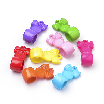 Opaque Acrylic Hanger Links, Bowknot, Mixed Color, 30x15x13mm, Hole: 2mm(X-SACR-Q190-28)