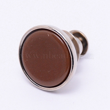 Alloy Jeans Buttons, with Resin, Garment Accessories, Flat Round, Saddle Brown, 16x15mm, Pin: 1.2mm, Hole: 1.2mm(PJ-TAC0003-01P-10)