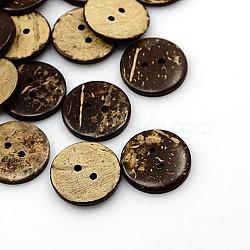 Boutons de noix de coco, 2-trou, plat rond, coconutbrown, 20x2.5mm, Trou: 2mm(X-COCO-I002-096)