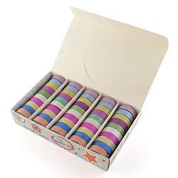 Glitter poudre bricolage scrapbooking rubans adhésifs décoratifs, avec du ruban adhésif sur l'autre côté, couleur mixte, 14.5 mm; environ 3 m/rouleau, 50 rouleaux / boîte; case: 250x155x50 mm(DIY-S028-03)