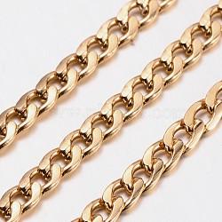 chaînes d'aluminium tordu de chaînes de trottoir, non soudée, sans plomb et sans nickel, oxydé en or, taille: environ chaîne: 9 mm de long, 5 mm de large, 1.5 mm d'épaisseur(X-CHA-K1631-11)