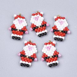 Perles rocailles japonaises manuelles, motif de tissage, père noël, rouge, 17.5x12x2mm(SEED-T002-17)