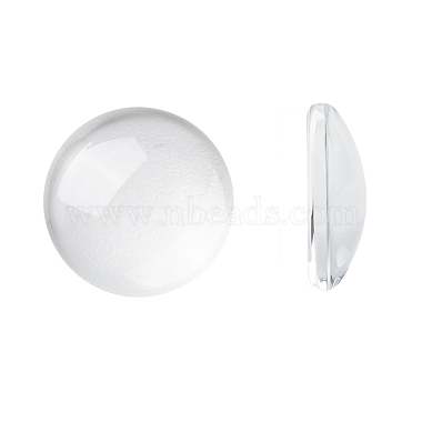 15mm Clear Half Round Glass Cabochons