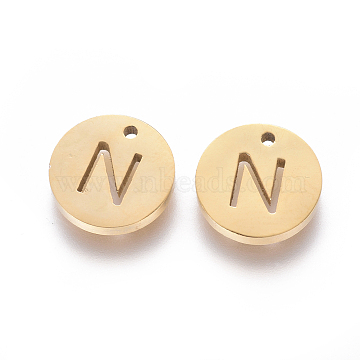 Golden Flat Round Stainless Steel Charms