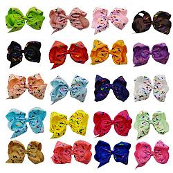 Pinces à cheveux en alligator grosgrain de bowknot, Avec des crochets d'alligator de fer, motif de licorne, couleur mixte, 120x80mm(PHAR-Q117-09)