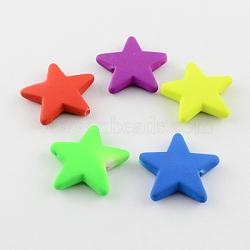 Perles en acrylique fluorescente, caoutchouté, étoiles, couleur mixte, 21x23x5mm, trou: 2 mm; environ 510 pcs / 500 g(MACR-S177-M)