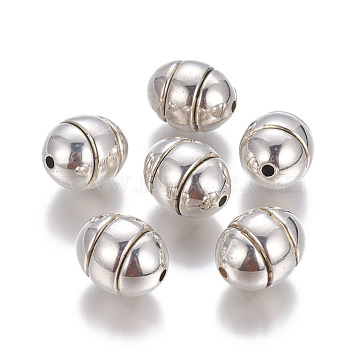 CCB Plastic Beads, Grooved Beads, Oval, Antique Silver, 20x16mm, Hole: 2.5mm(CCB-G006-080AS)