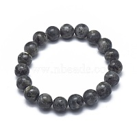 Natural Labradorite Bead Stretch Bracelets, Round, 2-1/8 inches~2-3/8 inches(5.5~6cm), Bead: 8mm
