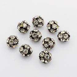 laiton perles strass, avec un noyau de fer, Grade A, bronze, arrondir, cristal, 14 mm de diamètre, trou: 2 mm(X-RB-A019-14mm-01B)