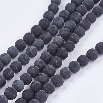 Natural Black Stone Bead Strands, Round, Black, 8mm, Hole: 1mm; about 46pcs/strand, 14.76inches(X-G-R193-01-8mm)