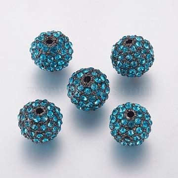 Alloy Rhinestone Beads, Grade A, Round, Gunmetal, Aquamarine, 10mm, Hole: 2mm(RB-A034-10mm-A03B)