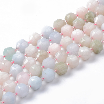 Natural Morganite Beads Strands, Round, Dyed, Faceted, 8~9x10mm, Hole: 1.2mm; about 33~35pcs/strand, 15.16inches(38.5cm)(G-R482-03-10mm)