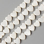 Natural Freshwater Shell Beads Strands, Heart, Creamy White, 6x6x3mm, Hole: 0.8mm; about 66pcs/strand, 15.28 inches(38.8cm)
