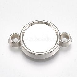 настройки ccb пластиковые кабошон разъем, плоские круглые, платина, лоток: 12 мм; 22.5x15x3 мм, отверстия: 1.8 mm(X-CCB-S161-30P)
