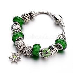Bracelets européens de mode en laiton, avec des perles de verre et perles en alliage de strass, verte, 190x3mm(BJEW-L583-01C)