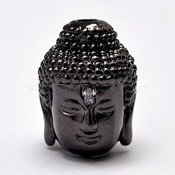 Perles en laiton, micro aaa grade pave zircone cubique, tête de bouddha, Sans cadmium & sans nickel & sans plomb, gunmetal, 14x10x11mm, Trou: 2mm(KK-E711-015B-NR)