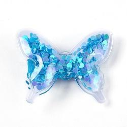 Pinces à cheveux en alligator en plastique, avec paillette et socle en fer platiné, papillon, bleu foncé, 41~42x52~53x12~13mm(PHAR-L005-G04)