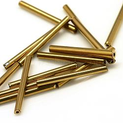 Plated Glass Bugle Beads, Tube, Golden Plated, 12x2.5mm, Hole: 0.5mm(X-SEED-R028-2x12-A03)