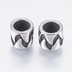 Supports d'émail en perle européenne en 304 acier inoxydable, Perles avec un grand trou   , colonne, argent antique, 8x7mm, Trou: 5mm(STAS-I097-056AS)