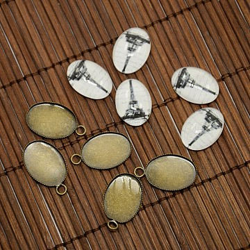 13x18mm Oval Tempered Glass Cabochons and Antique Bronze Brass Pendant Settings for Eiffel Tower Pendant Making, Nickel Free, Pendant: 23x13.5x1mm, Hole: 2mm(DIY-X0089-NF)