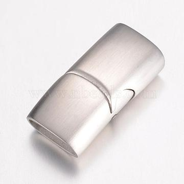 304 Stainless Steel Magnetic Clasps, Frosted, Rectangle, Stainless Steel Color, 24x12x7.5mm, Hole: 5x10mm(STAS-G071-39P)