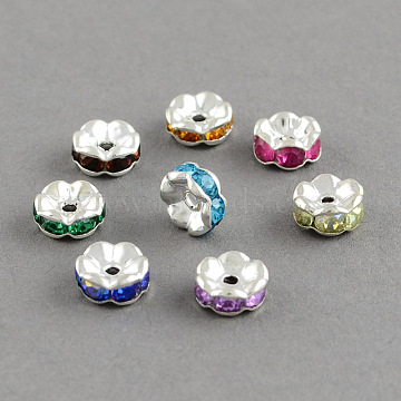 Brass Grade A Rhinestone Bead Spacers, Flat Round, Mixed Color, 7x3mm, Hole: 1.5mm(X-RB-S033-A)