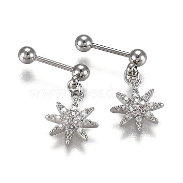 304 Stainless Steel Ear Fake Plugs Gauges, with Clear Cubic Zirconia, Star, Stainless Steel Color, 16mm, Pin: 0.8mm, 12pcs/set(EJEW-H113-04P)