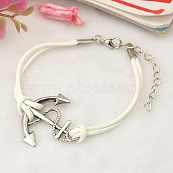 Personalized Tibetan Style Anchor Multi-strand Bracelets, with Korea Waxed Cotton Cord and Alloy Lobster Claw Clasps, Antique Silver, White, 190mm(X-BJEW-JB00654-04)