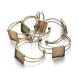 латунь манжеты браслет решений, пустое основание браслета, старинные браслет база, свинца и никеля бесплатно, античная бронза, 68 мм; Квадратный лоток: 25 мм(X-BJEW-S230076-AB-FF)