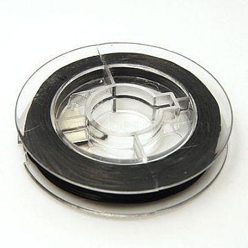 Fil élastique extensible fort de perles, noir, 0.8 mm; environ 10 m/rouleau(EW-N002-04)