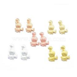 Accessoires de clou d'oreille en alliage, avec boucle, goupilles en laiton et écrous d'oreille / dos de boucle d'oreille, Plaqué longue durée, couleur mixte, 29x18mm, trou: 1.5 mm; broches: 0.7 mm(PALLOY-F255-23)